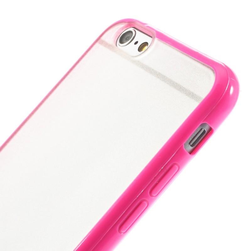 Průhledný kryt pro iPhone 6/6s s růžovým rámečkem
