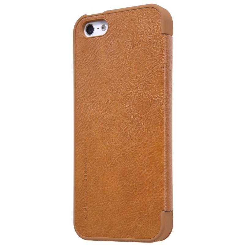 Luxusní flipové pouzdro Nillkin Qin pro iPhone 5/5S/5SE hnědé