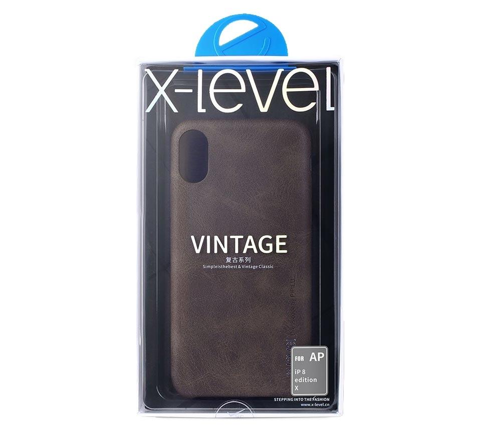 X-level Vintage pouzdro pro Apple iPhone XS/X hnědé