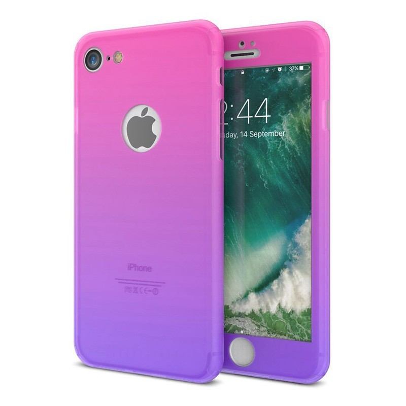 Kryt 360 Soft Touch Gradient pro iPhone 6/6s růžový + tvrzené sklo na displej
