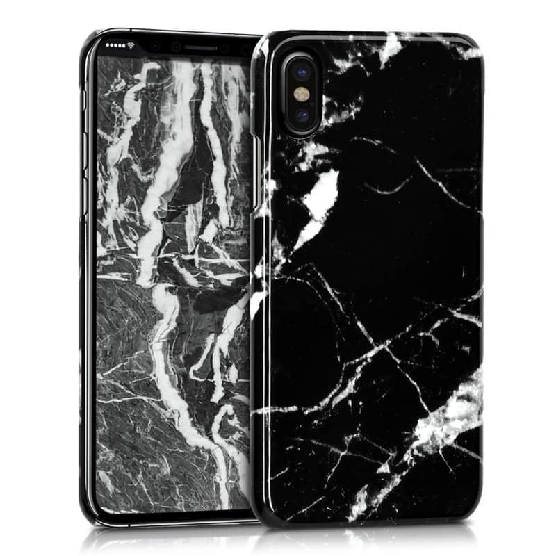 Mramorový kryt na iPhone XS/X -black/white