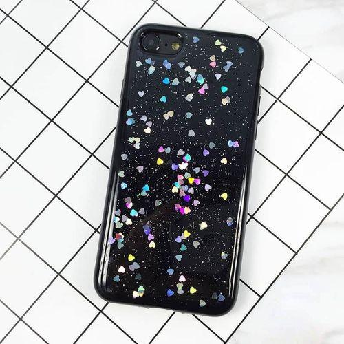 Silikonový kryt pro iPhone 7/8 se srdíčkama černý