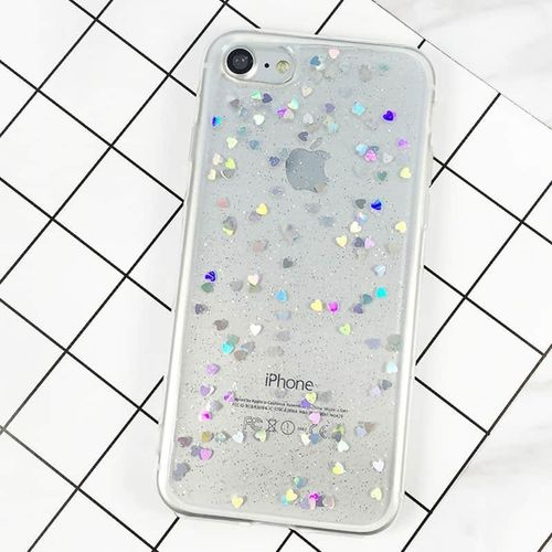 Silikonový kryt pro iPhone 7/8 se srdíčkama průhledný