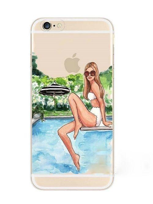 Plastový kryt pro iPhone 6/6s se siluetou ženy 2